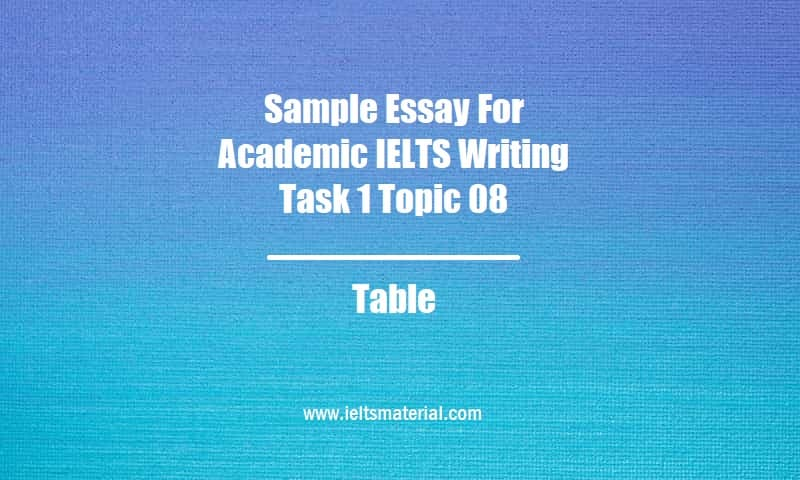Sample Essay For Academic IELTS Writing Task 1 Topic 08 Table