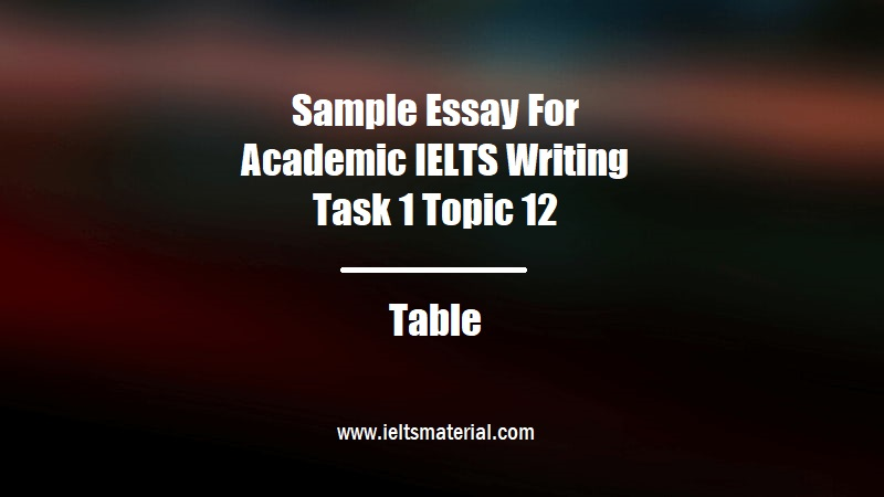 Sample Essay For Academic IELTS Writing Task 1 Topic 12 Table