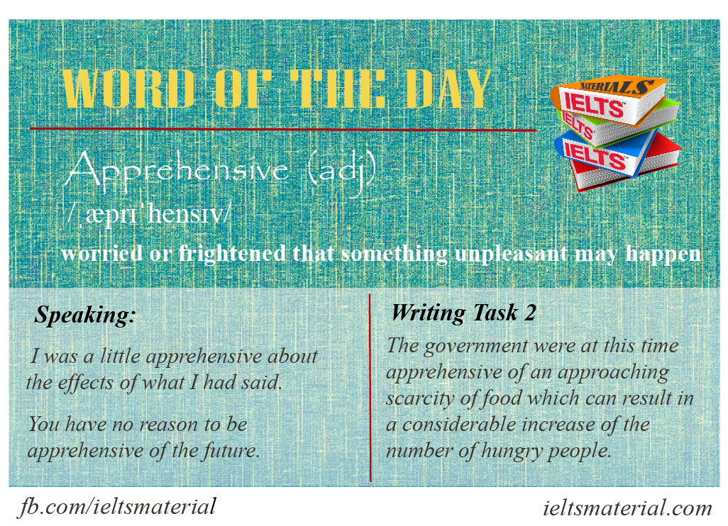 IELTSMaterial.com - Word of the day - apprehensive