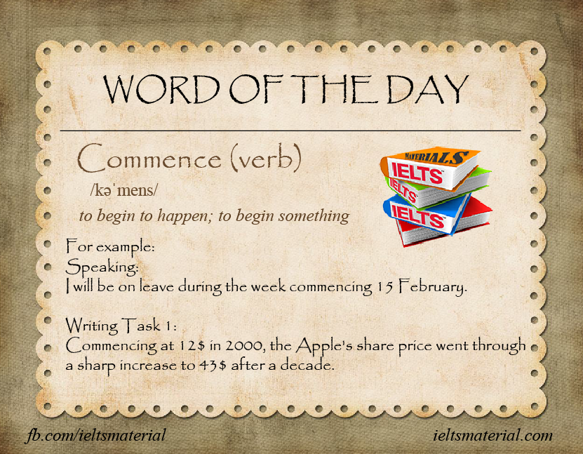Ieltsmaterial - word of the day - commence