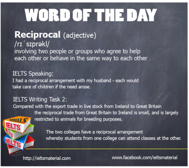 Ieltsmaterial.com - Word of the day - reciprocal