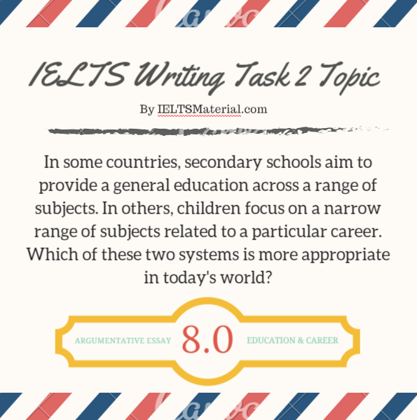 IELTS Writing Task 2 Argumentative Essay of Band 8.0 – Topic Education & Career