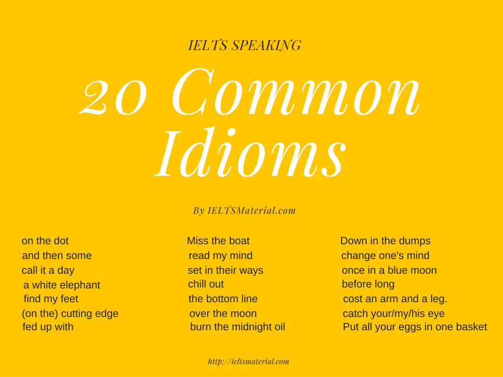Free 22 Common Idioms Their Proper Usages In Ielts Speaking Section