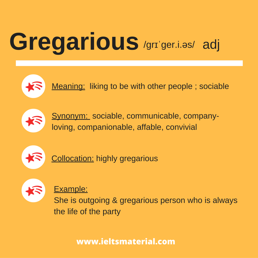 Gregarious– Word of the Day for IELTS Speaking & Writing
