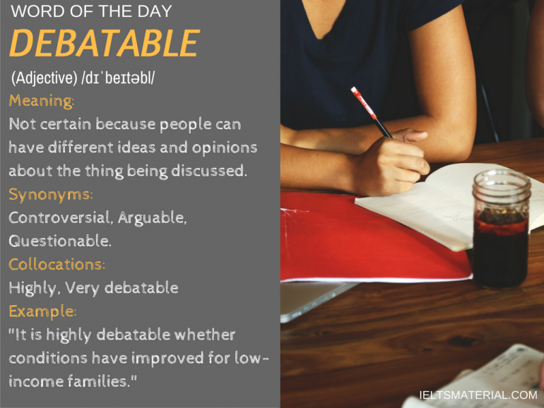 word of the day by ieltsmaterial - debatable