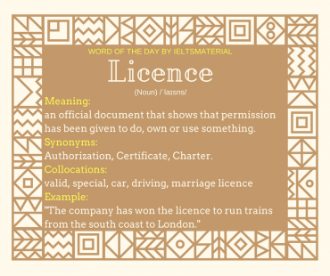word of the day by ieltsmaterial - licence