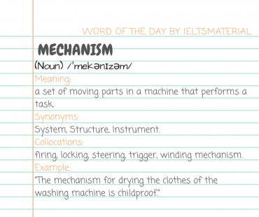 WORD OF THE DAY BY IELTSMATERIAL - mechansim