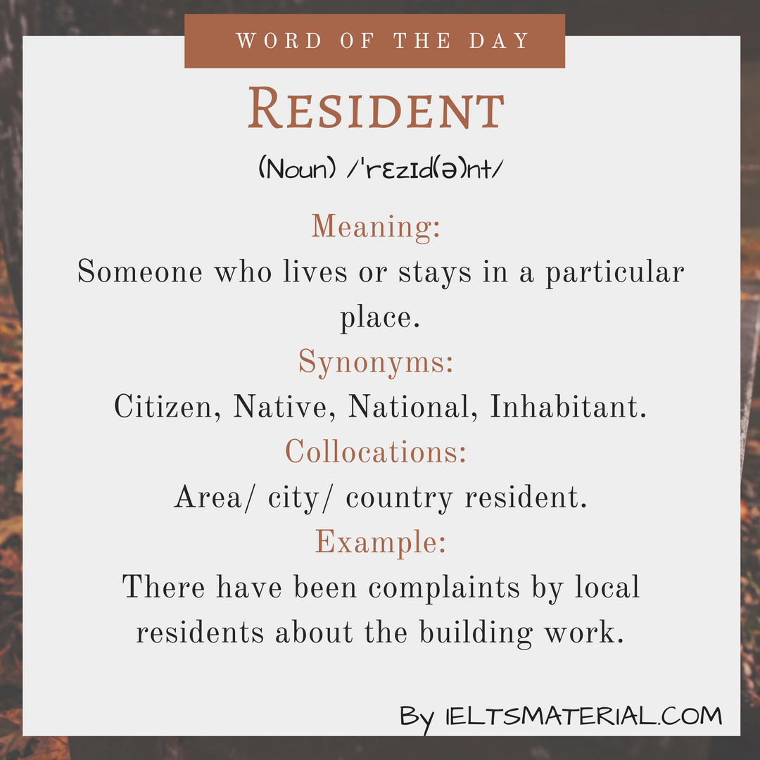 Resident – Word Of The Day For IELTS