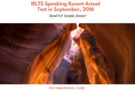 IELTS Speaking Recent Actual Test in September, 2016
