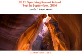 IELTS Speaking Recent Actual Test in September, 2016