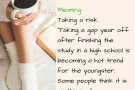 Meaning Taking a risk Taking a gap year off after finishing the study in a high school is becoming a hot trend for the youngster. Some people think it is on thin ice.