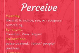 Meaning formal to notice see or recognise something 1