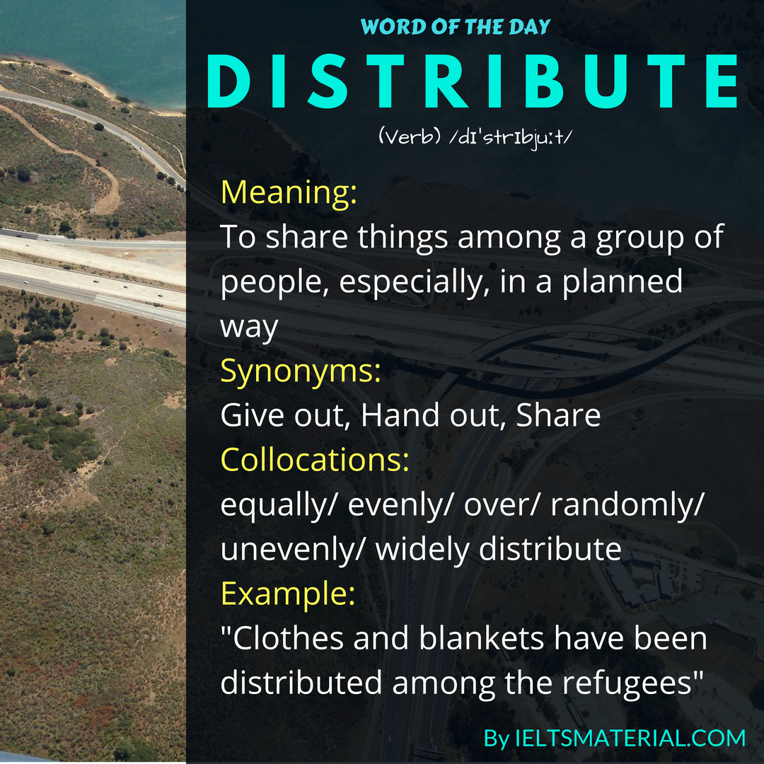 word of the day by ieltsmaterial - distribute