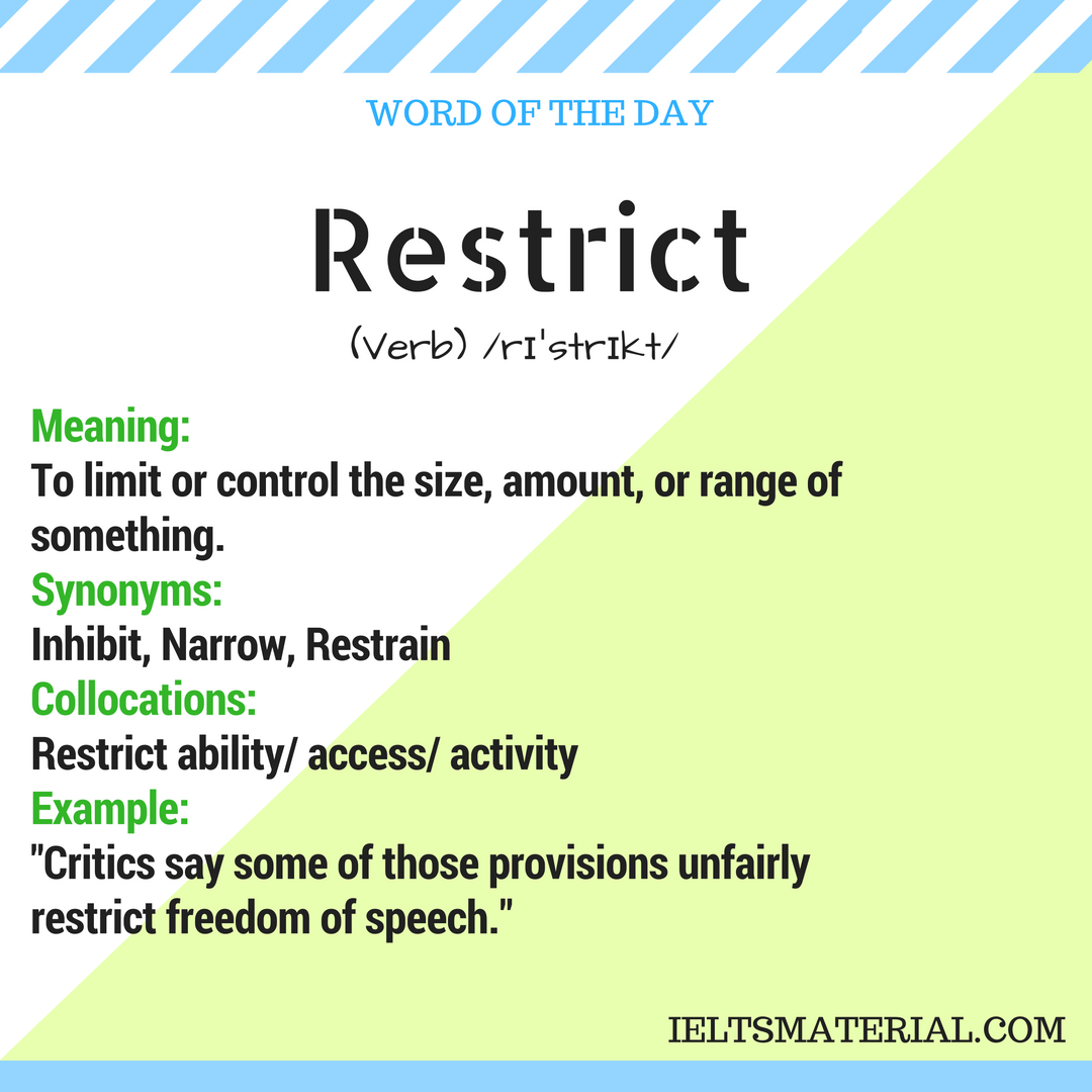 Restrict – Word Of The Day For IELTS