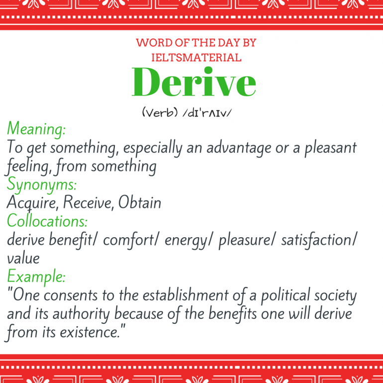 Derive word of the day for ielts speaking and writing word of the day by ieltsmaterial derive m4hsunfo
