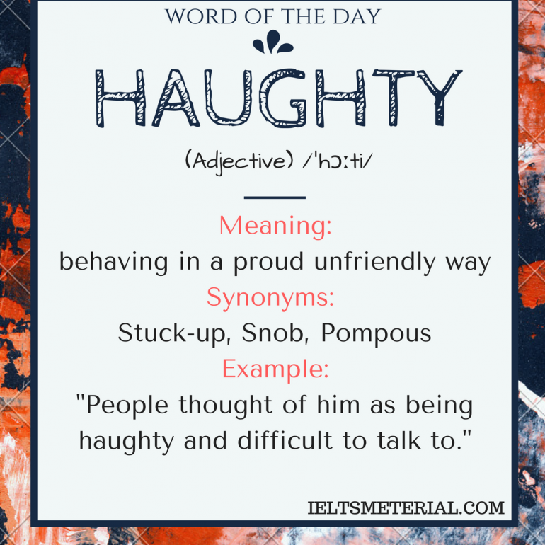 word of the day - haughty