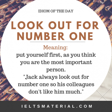 idiom of the day - look out for number one