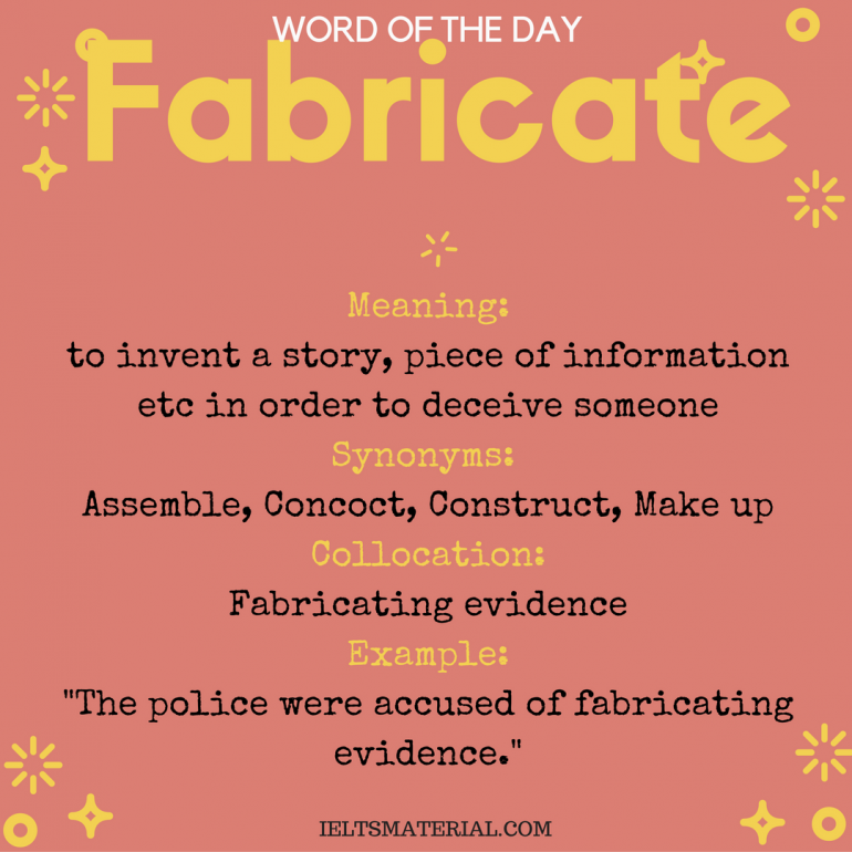 word of the day - fabricate