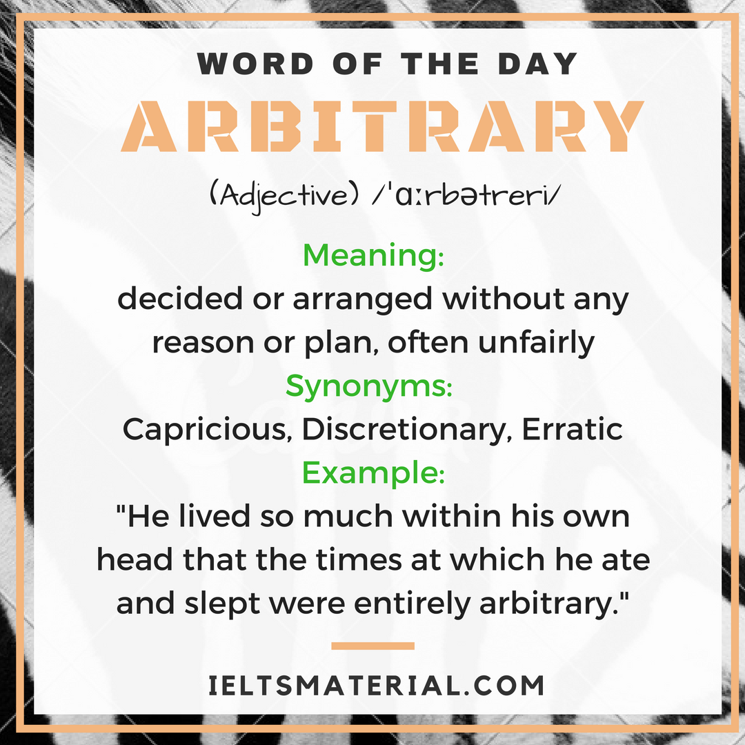 Word Of The Day Arbitrary