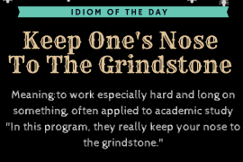 idiom of the day Keep Ones Nose To The Grindstone