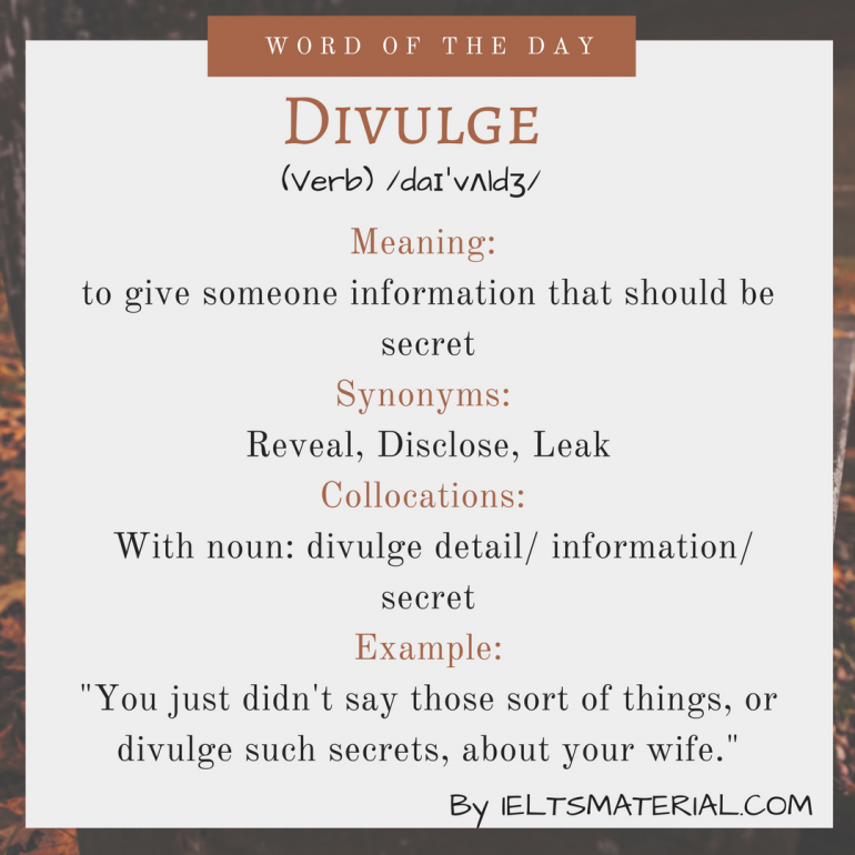 word of the day Divulge