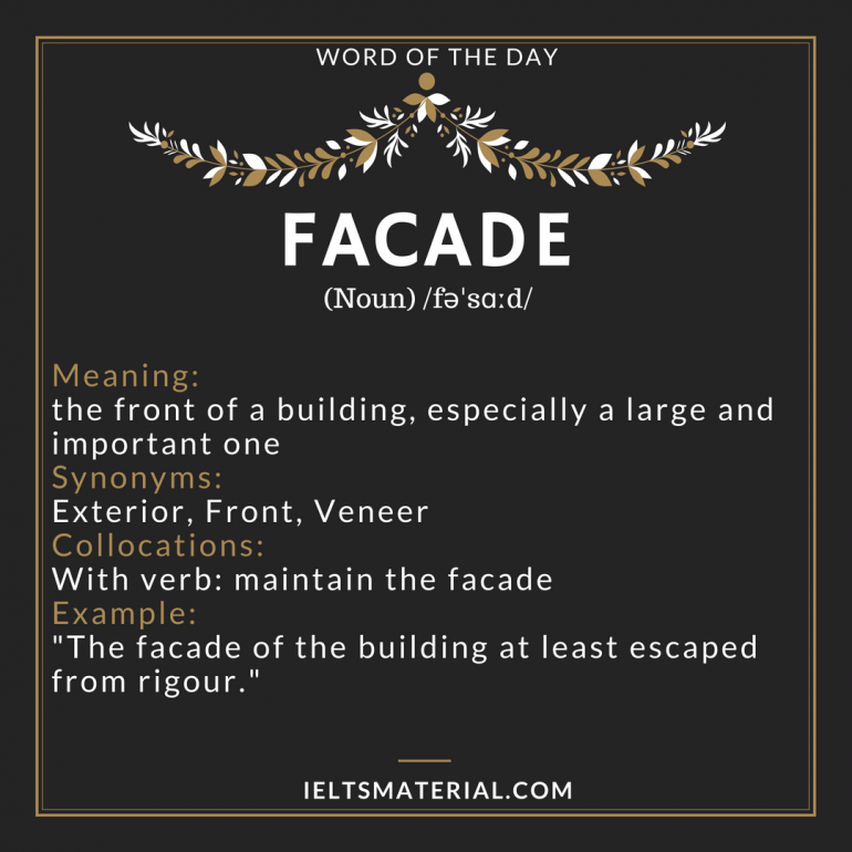Facade word of the day for ielts for Extra mural meaning