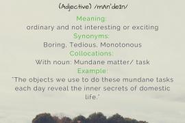 word of the day Mundane