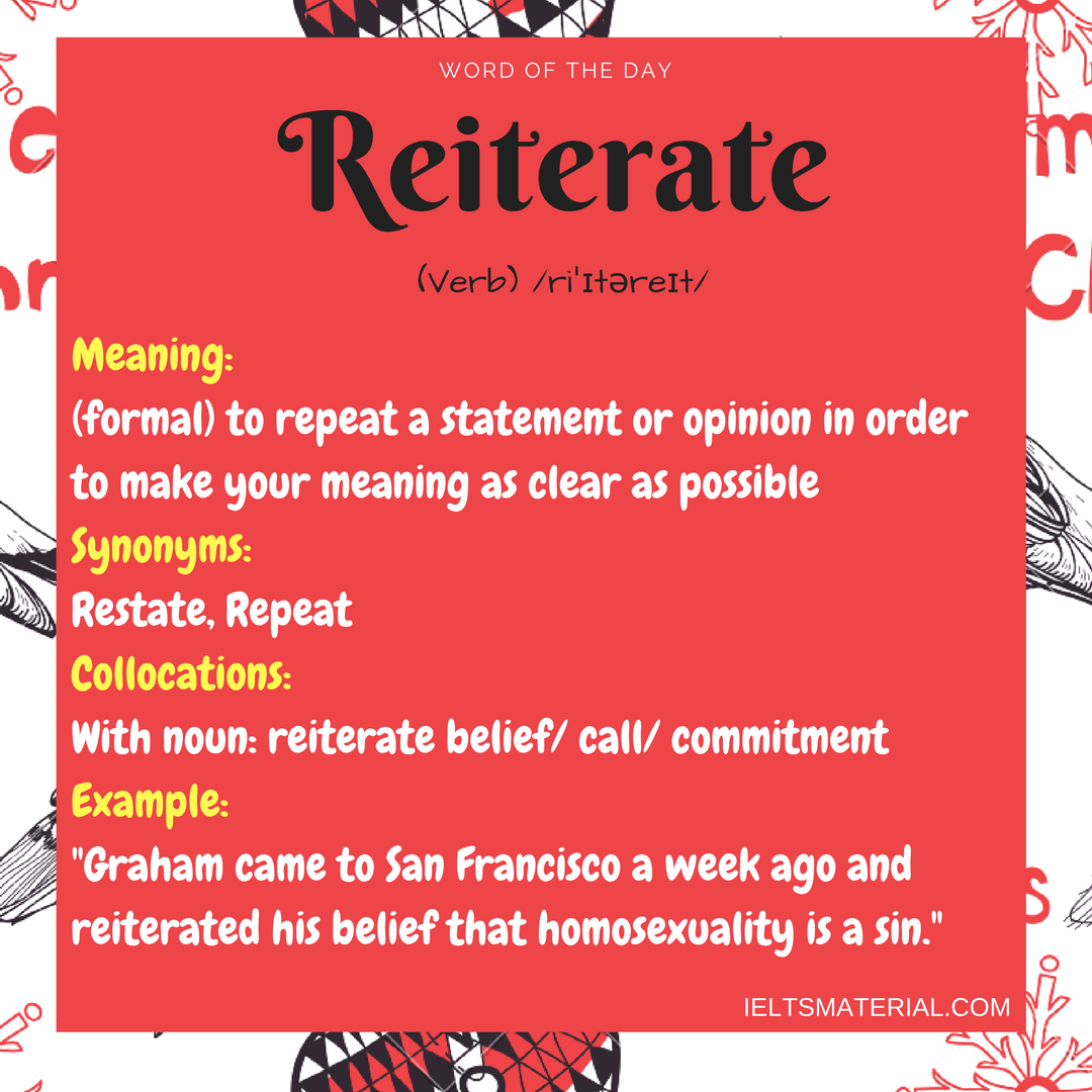 Reiterate – Word Of The Day For IELTS