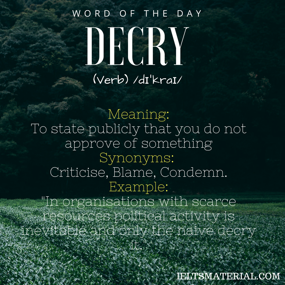 word of the day decry