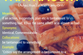word of the day tantamount