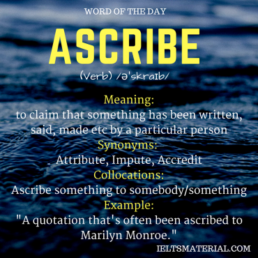 WORD OF THE DAY - ascribe