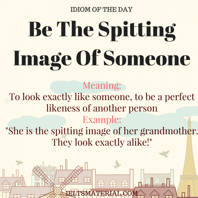 IDIOM OF THE DAY Be The Spitting Image Of Someone