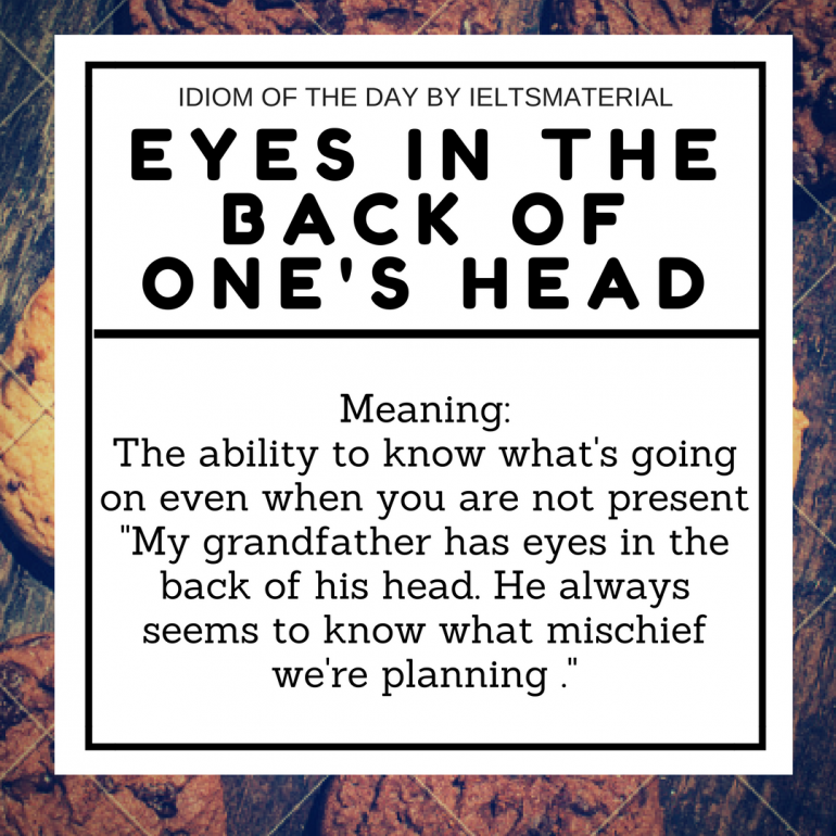 IDIOM OF THE DAY EYES IN THE BACK OF ONES HEAD 1