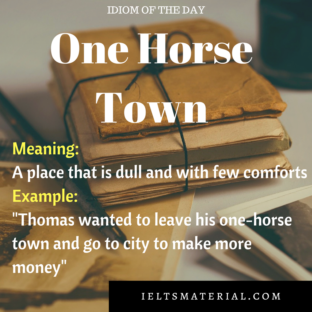 IDIOM OF THE DAY ONE HORSE TOWN