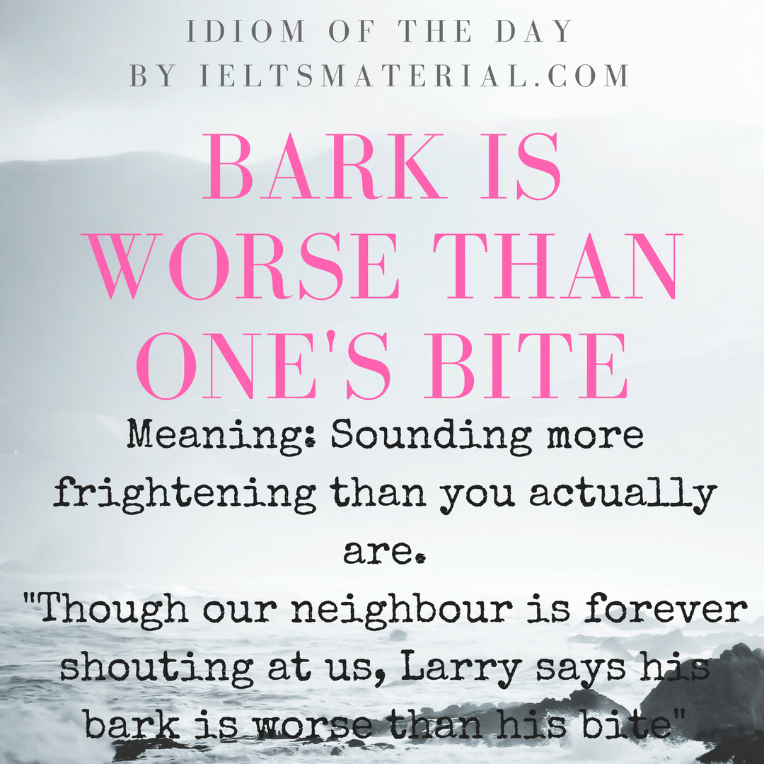 idiom of the day BARK IS WORSE THAN ONES BITE