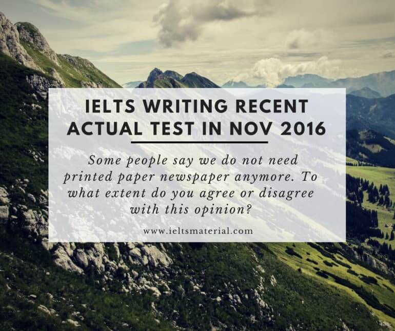 IELTS Writing Recent Actual Test in November 2016 & Model Essay