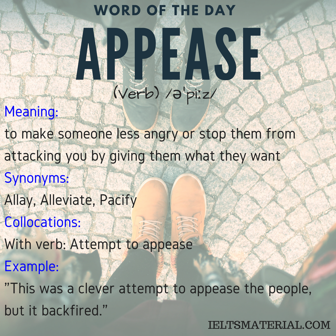 Appease – Word Of The Day For IELTS