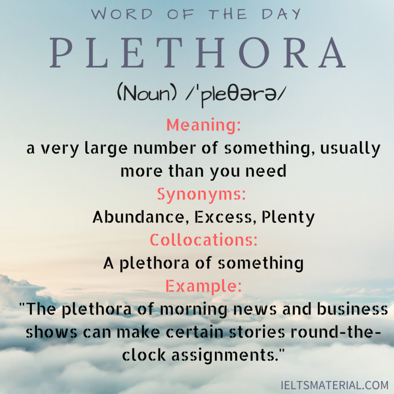 word of the day - plethora