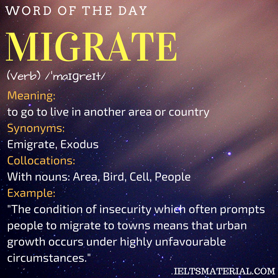 Migrate – Word Of The Day For IELTS