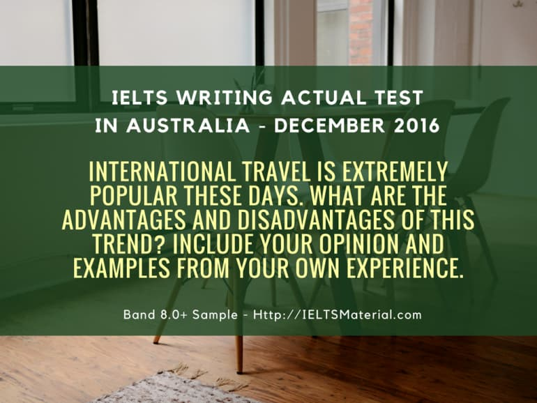 IELTS Writing Actual Test in Sydney, Australia - December, 2016 & Sample Answers