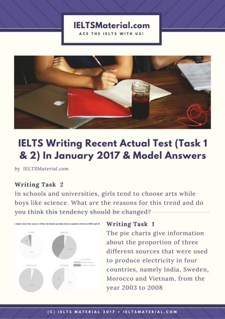 IELTS Writing Recent Actual Test (Task 1 & 2) in Vietnam - January 2017 & Model Answers