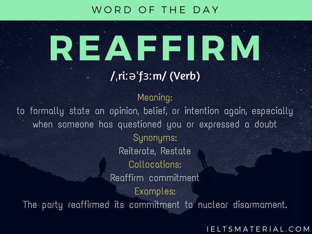 Reaffirm – Word Of The Day For IELTS