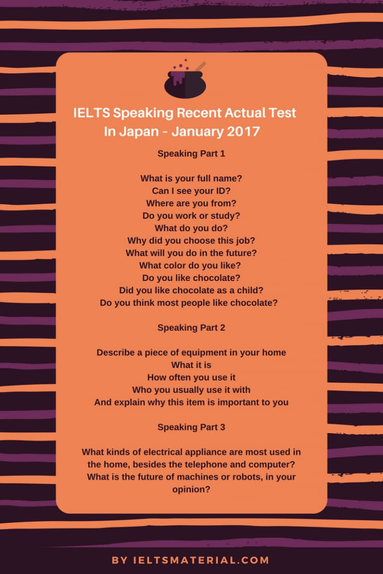 IELTS Speaking Recent Actual Test in Japan - January 2017 & Sample Answers