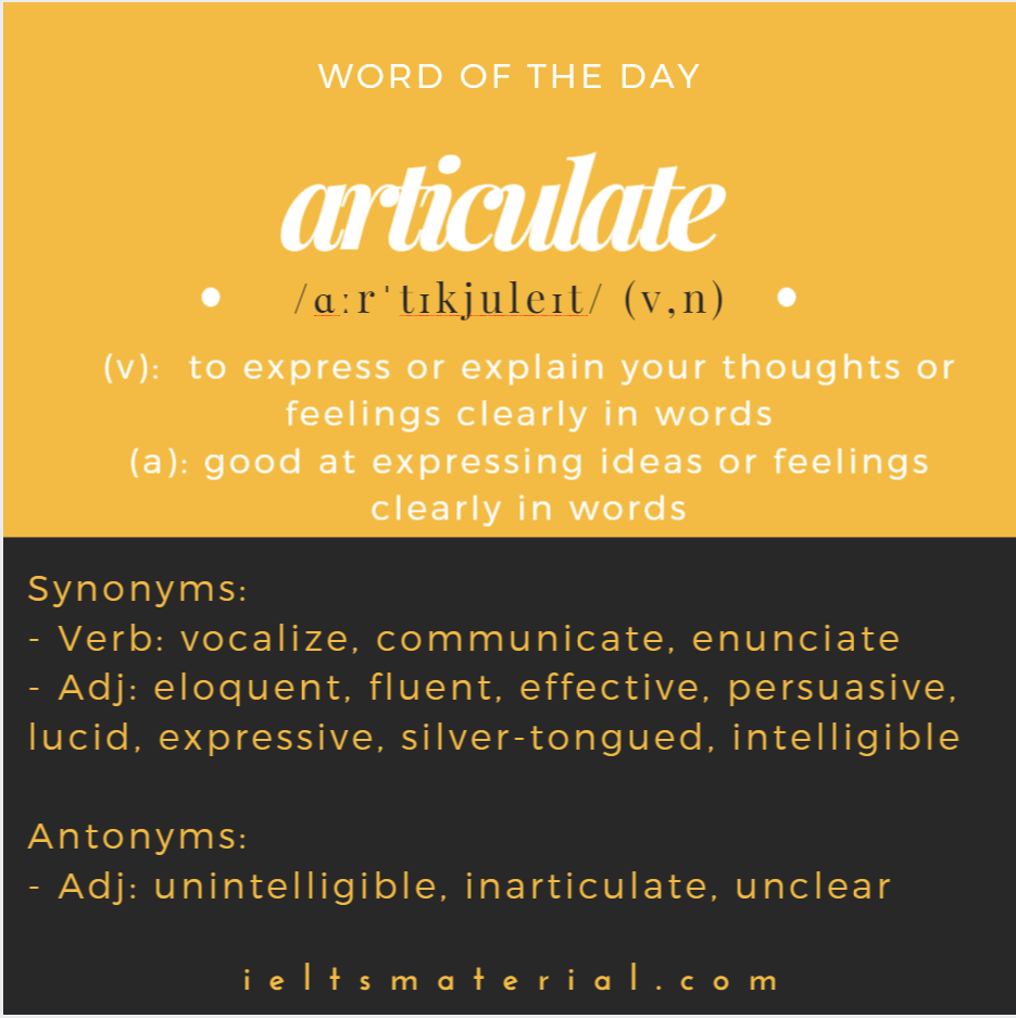 Articulate – Word of the Day for IELTS Writing & Speaking