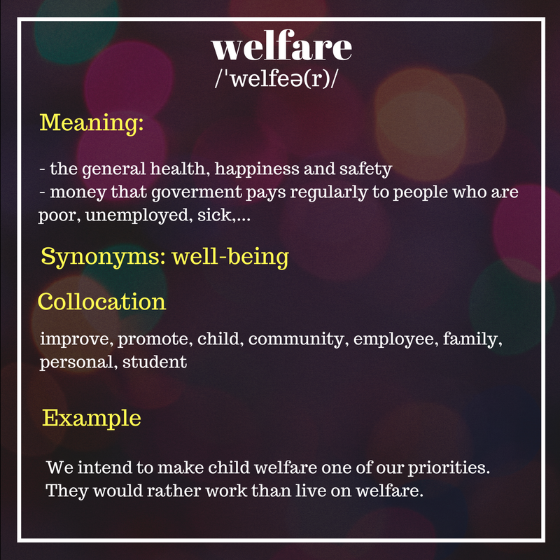 Welfare - Word of the day