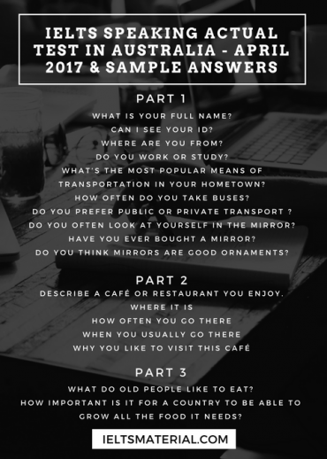 IELTS Speaking Actual Test in the UK - April 2017 & Sample Answers (1)