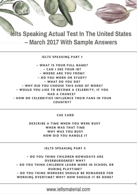 IELTS Speaking Actual Test in the United States – March 2017 with Sample Answers