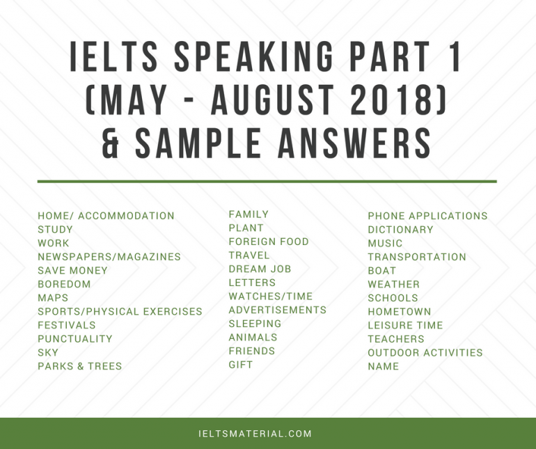 IELTS Speaking Part 1 (May - August 2018) & Sample Answers (1)