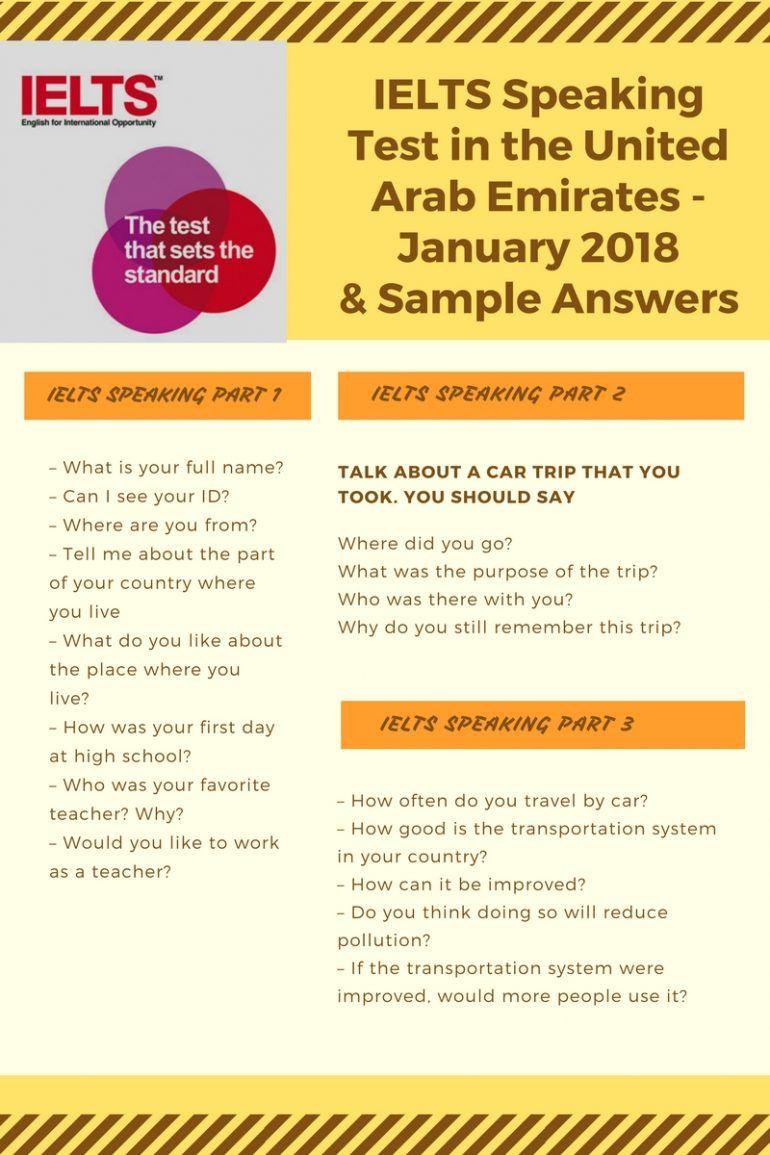 IELTS Speaking Test in Jan 2018 & Sample Answers