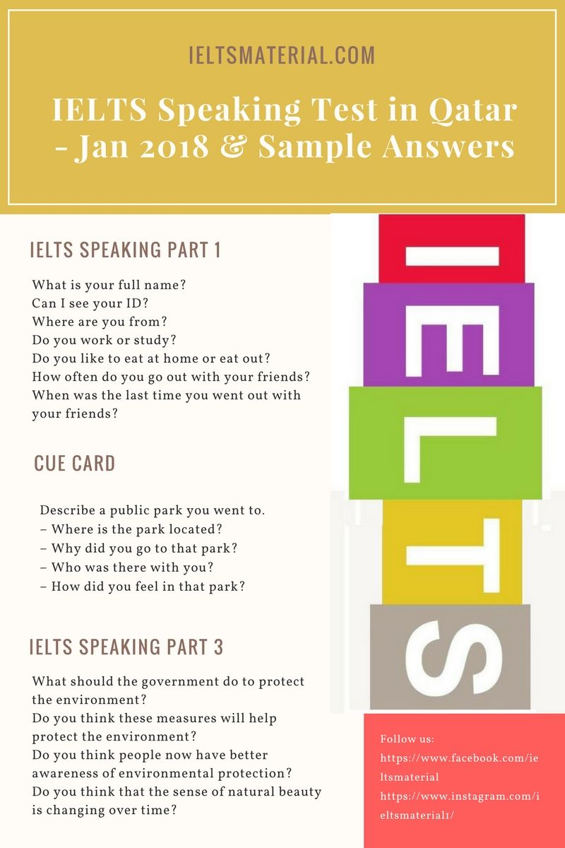 IELTS Speaking Test in Jan 2018 & Sample Answers